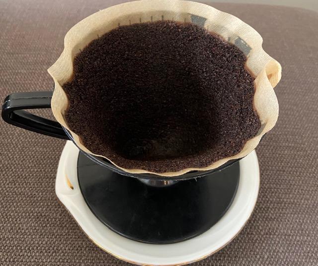 coffee filter お湯を注いだあと