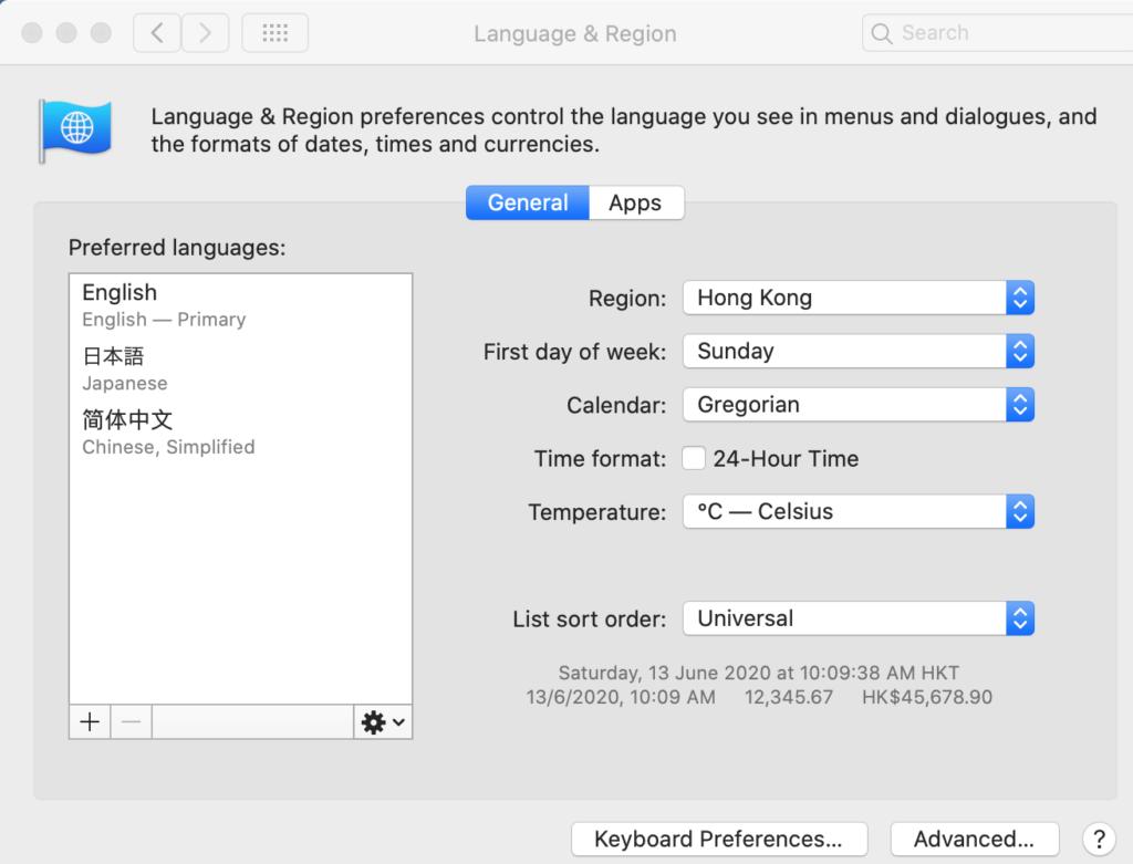 Mac英語から日本語に変更