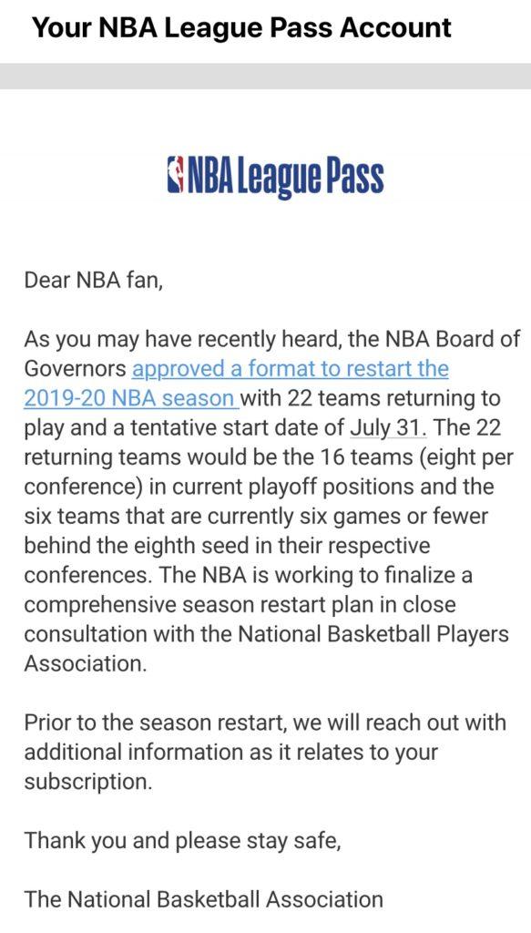 NBAリーグパスからのお知らせメール