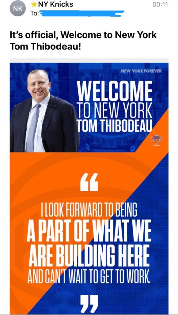 Knicks thibodo